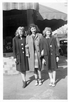 saddle shoes jackets coats skirt hair vintage fashion style street photo print teen youth 40s war era