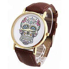 DAYAN Damenmode Sport Watch Genf Schädel Gold-Leder Analog Quarz-Armbanduhr - http://uhr.haus/dayan/dayan-damenmode-sport-watch-genf-schaedel-gold