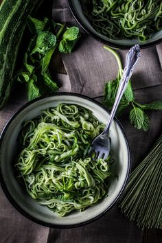 Green Tea & Zucchini Noodles with Honey Ginger Sauce