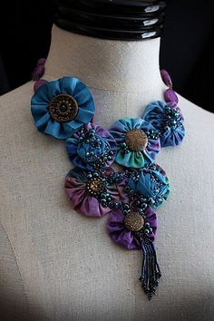 Items similar to AZUREE Textile Mixed Media Teal Blue Purple Statement Necklace on Etsy Jewelry Crafts, Jewelry Art, Beaded Jewelry, Jewelry Design, Geek Jewelry, Gothic Jewelry, Jewelry Necklaces, Fabric Beads, Fabric Ribbon