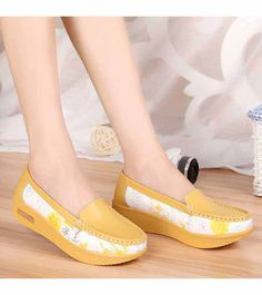 Women's #yellow flower print leather slip on shoe #platform, floral print, Round toe design, casual, leisure occasions.