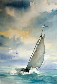 sailboat in watercolor