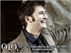 """""""The face 10 makes when he gets out of the TARDIS to explore a new place."""" I know I went out of chronological order, but in honor of this being our 10th Little Whovian post, I did a 10th doctor post just to celebrate his adorableness."""