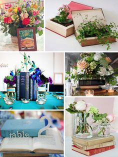 Books as wedding centerpiece. Now we can dust off a lot of our beautiful old books, passed down from days gone by, to make beautiful, simple vignettes. I think it is an excellent idea!