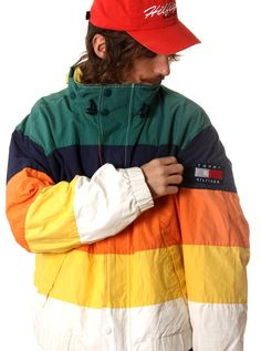 VINTAGE TOMMY HILFIGER BOX LOGO COLOURBLOCK GOOSEDOWN JACKET