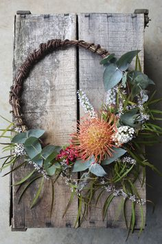 hoop bouquet for a flower girl - pincushion and native foliage Swallows Nest Farm Aussie Christmas, Australian Christmas, Christmas Time, Christmas Crafts, Holiday, Xmas Wreaths, Wreaths And Garlands, Flower Garlands, Australian Native Flowers