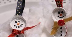 Bottle cap snowmen f