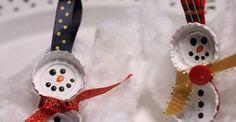 Bottle cap snowmen f
