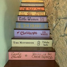Two or More Book Stair Decals - Lettering for DIY Book Steps Types Of Books, Stack Of Books, Painted Letters, Painted Books, Book Staircase, Staircase Ideas, The Notebook Nicholas Sparks, Expensive Books, Book Spine