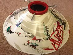 VINTAGE RETRO 1960s CHRISTMAS TREE LITHOGRAPHED TIN STAND GREAT WINTER SCENE