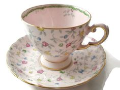 Tuscan Fine Bone China England Pink Floral Footed Tea Cup and Saucer, Pattern 9505 by SuzquisTreasures on Etsy