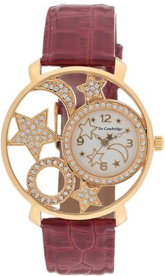 Mashreqworld : De Cambridge Unisex Dress Watch Red Leather Strap price, review and buy in UAE, Dubai, Abu Dhabi | Souq.com