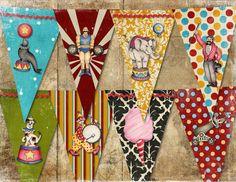 CIRCUS BIRTHDAY Banner Vintage Retro /  Easy DIY Digital Printable File. $4.25, via Etsy.