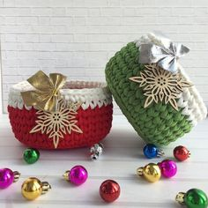 DIY - Ideias de cestos de Natal com fio de malha ⋆ De Frente Para O Mar