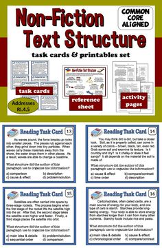 Task cards, reference sheet, and assessment activities for non-fiction text structure $