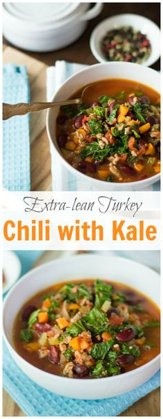 This delicious Extra-lean Turkey Chili with Kale is healthy, easy to make, gluten-free, low fat and it is perfect for a chilly day! primaverakitchen.com