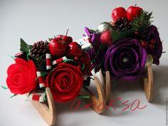 Купить саночки новогодние с конфетами - комбинированный, саночки с конфетами, Новогодние сувениры, новогодний подарок