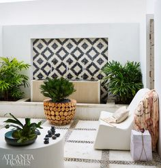 The loggia boasts wooden planters from Lucy's Market to complement black-patterned Ann Sacks tiles and patinated copper pipes. Outdoor Tiles, Outdoor Rooms, Outdoor Living, Gazebos, Atlanta Homes, Patio Design, Floor Design, Backyard Patio, Outdoor Pergola