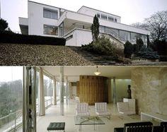 Villa Tugendhat in Tschechien, Außenansicht (oben) und Innenansicht, Quelle: picture-alliance/dpa, Kombo: ard.de