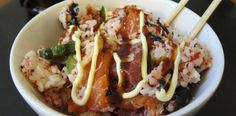 Sushi Bowl by Douzo meshiagari (Help yourself)! Sushi Recipes, Seafood Recipes, Asian Recipes, Healthy Recipes, Healthy Foods, I Love Food, Good Food, Yummy Food, Gourmet