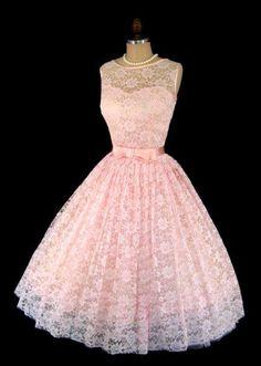 Vestido Vintage 1950's Rosa Claro Aplicação Renda Laço
