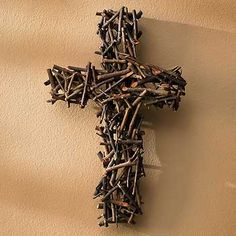 WildWings Layered Twig Cross. Could be interesting if made from nails too.