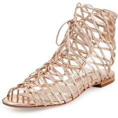 Sophia Webster Dephine Lace-Up Flat Gladiator Sandal, Gold ($599) ❤ liked on Polyvore featuring shoes, sandals, gold flat sandals, peep toe sandals, gold lace up sandals, gladiator sandals and greek sandals