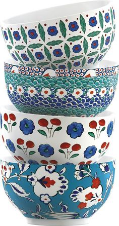 Victoria and Albert Iznik Stacking Bowls Victoria and Albert Iznik Stacking Bowls Pottery Painting, Ceramic Painting, Ceramic Art, Ceramic Design, Interior Decorating Styles, New Interior Design, Turkish Art, Turkish Tiles, Ceramic Bowls