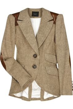 tweed blazer with leather elbow patch, cute tailoring