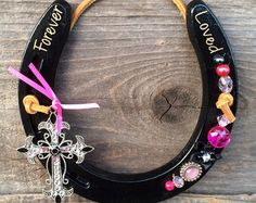 Glittered Double Horseshoe with Heart Pendant by HorseShoeFever