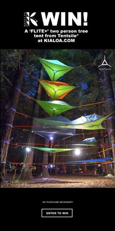 http://swee.ps/VAgzmkxaK                             Win a 'FLITE+' two person tree tent from Tentsile®!
