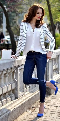Royal blue denim white and stripes