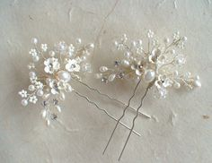 Set for 2 Bridal hair pins. Ivory flower/ Pearl от ShesAccessories