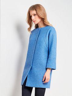 Пальто женское демисезонное цвет кобальт, Пальтовая ткань, артикул 3018220p00063