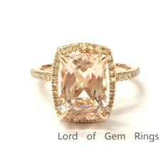 $588 Cushion Morganite Engagement Ring Pave Diamond Wedding 14K Rose Gold 7x9mm