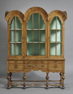 William & Mary-style Triple Dome-top Yew Wood and Walnut Cabinet, England, late 19th century