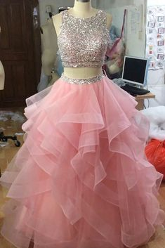 two piece prom dresses organza ruffles beaded top with keyhole back – slayingd. two piece prom dresses organza ruffles beaded top with keyhole back – slayingdress - ❤️ videos of fancy gowns - Blush Pink Prom Dresses, Pink Party Dresses, Cute Prom Dresses, Quince Dresses, Ball Dresses, Dresses Dresses, Beaded Dresses, Homecoming Dresses Pink, 15 Birthday Dresses