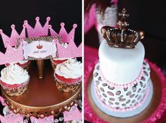 Crown And Leopard Cupcakes & Cake