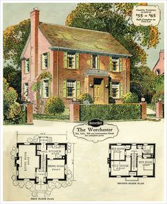 Historic Colonial House Plans Best Of 1929 Sears Brick Veneer the Worchester Brick House Plans, Sims House Plans, Colonial House Plans, House Floor Plans, Vintage House Plans, Victorian House Plans, House Blueprints, Story House, House Layouts