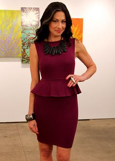 peplum dress + statement necklace