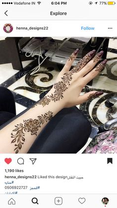 This is a incredible photo of an ambience for you to inspired yourself for your new oroject. See more inspirations clicking on the image. Henna Designs Arm, Henna Tattoo Designs Simple, Arabic Henna Designs, Mehndi Designs 2018, Modern Mehndi Designs, Mehndi Design Pictures, Wedding Mehndi Designs, Beautiful Henna Designs, Mehndi Designs For Hands