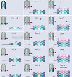 seed bead bracelet patterns for beginners Peyote Beading Patterns, Beaded Earrings Patterns, Seed Bead Patterns, Loom Beading, Seed Bead Jewelry, Bead Jewellery, Seed Beads, Bugle Beads, Pearl Beads