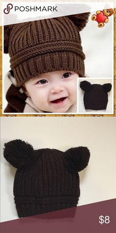 Winter Baby Beanie with Pom Pom Ears, NWOT Coffee colored winter baby beanie with Pom Pom design Boutique Accessories Hats