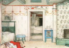 Sweet Swedish Dreams: The Bedrooms of Carl Larsson - the Tiled stove is the inspiration behind my sitting room stove idea