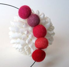 felted bead jewelry unique felt ball necklace modern by frankideas, $22.00