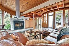Cool family room with cool fireplace. Very cool setting.
