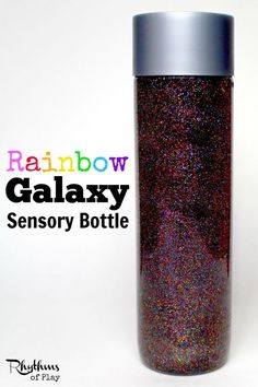 "Both children and adults will love this rainbow galaxy sensory bottle. When it swirls it looks like a rainbow galaxy, and when it stops it looks like rainbow colored twinkling stars slowly falling in the night sky. Calm down bottles like this are most often used for no mess sensory play, to help calm an overwhelmed child, as a ""time out"" timer, or as a meditation technique for children. They are just as effective for adults. Discovery Bottle 