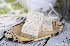 Easy lavender oatmeal soap recipe using melt and pour soap base. A great homemade soap recipe for beginners. Perfect DIY gift.