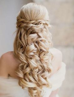 elegant half up and half down wedding hairstyle for long hair