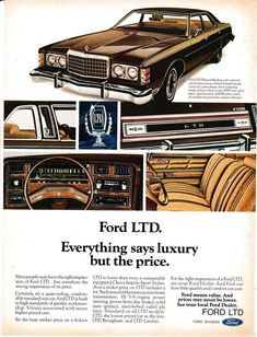 10 Classic Ads From 1975 Ford Ltd, Ford Galaxie, Vintage Advertisements, Vintage Ads, Ford Mustang, Ford Classic Cars, Classic Auto, Sports Sedan, Car Advertising